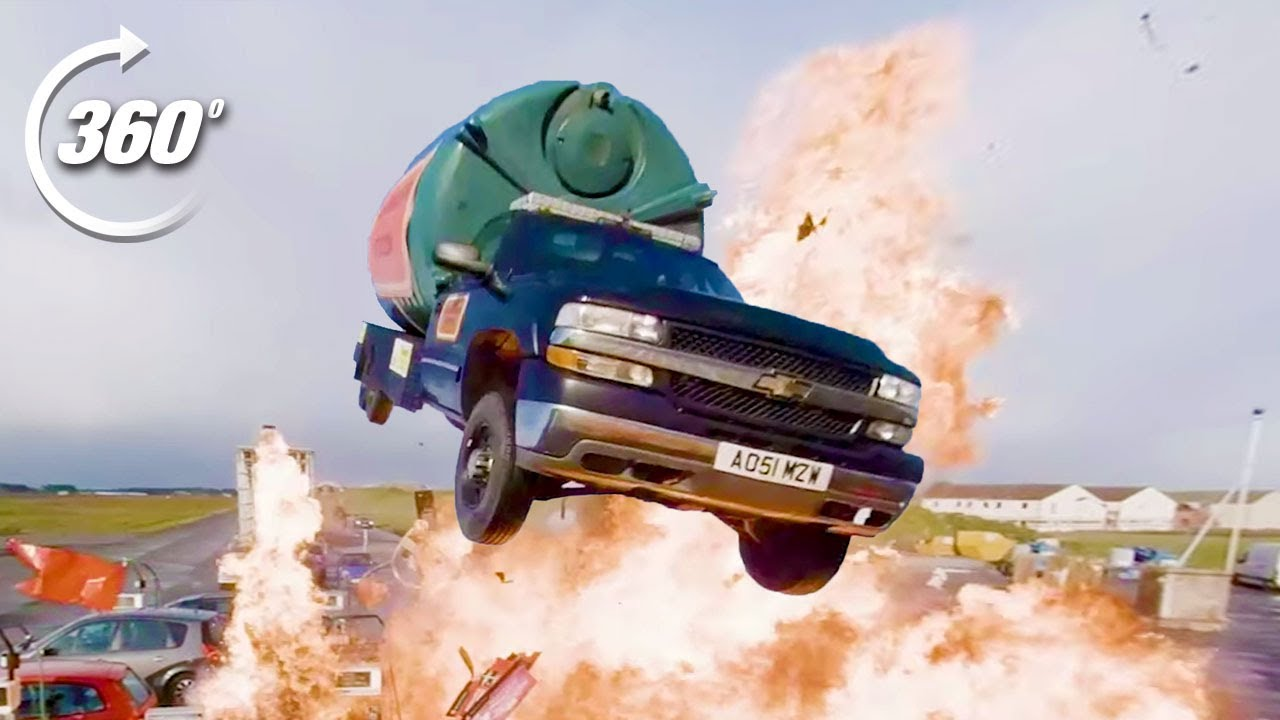 360º EXPLOSIVE Petrol Station Stunt! | Top Gear: Jumps